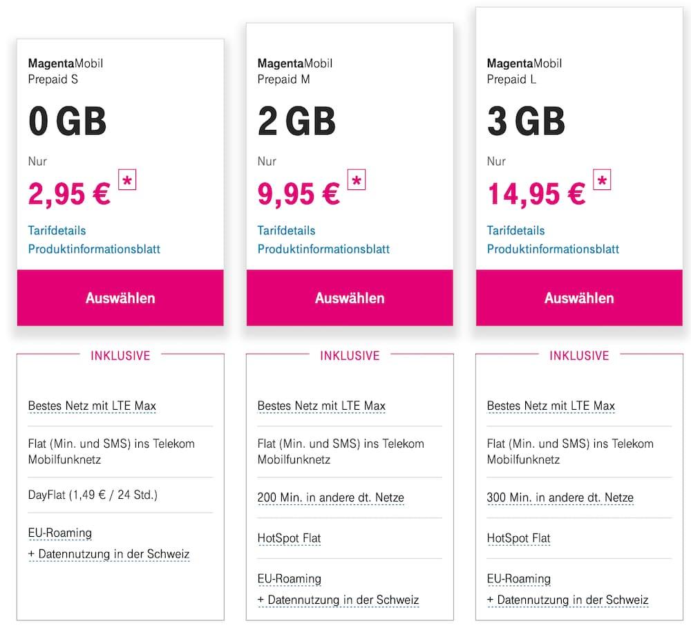 Prepaid-Tarife von der Telekom MagentaMobil
