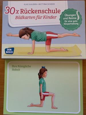 Bildkarten für die Rückenschulung von Kindern