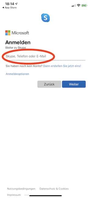 bei der Skype-Anmeldung die eigene E-Mail-Adresse nutzen