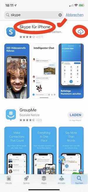 Skype-App auf das iPhone laden