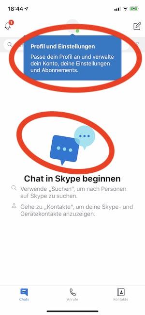 Skype-App erfolgreich installiert