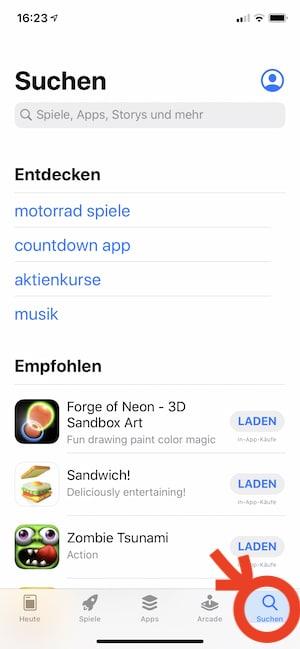 Suche im App-store