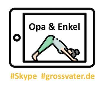 virtuelle Yoga-Übungen mit Opa und Enkelkinder