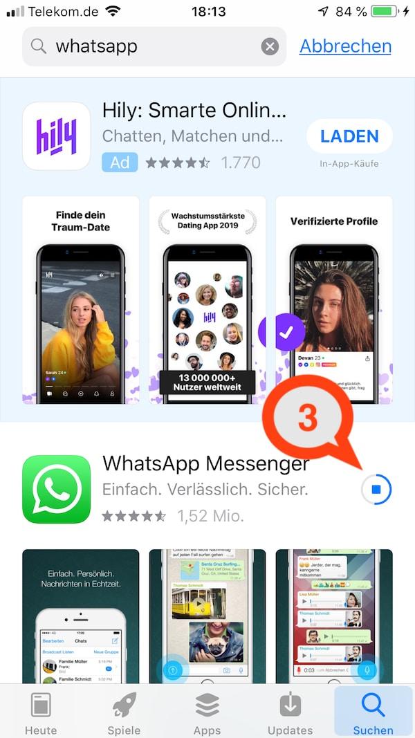 WhatsApp installieren auf das Smartphone.