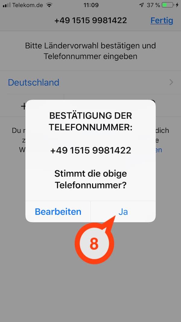 In WhatsApp die Telefonnummer bestätigen