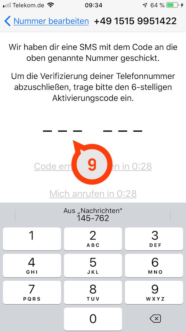Den SMS-Code von WhatsApp eingeben