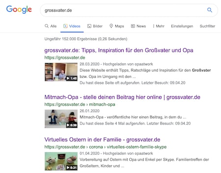 Grossvater-Videos nun im Google-Index
