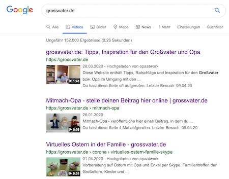 Grossvater-Videos nun im Google-Index