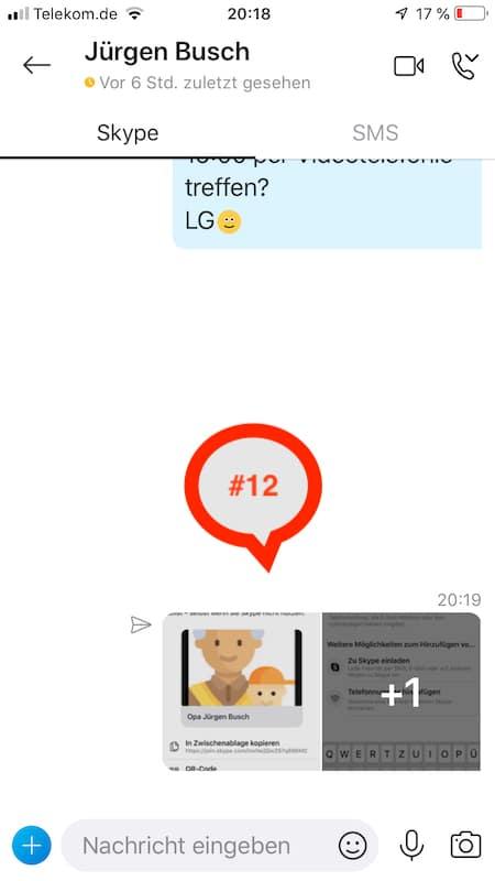 Bestaetigung und Anzeige von übermittelten Information im Skype-Chat-Verlauf