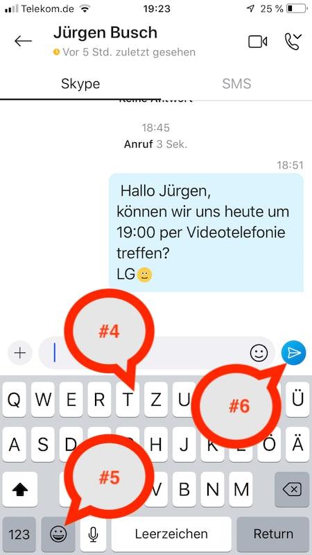 Eine Textnachricht schreiben und senden über den Skype-Chat