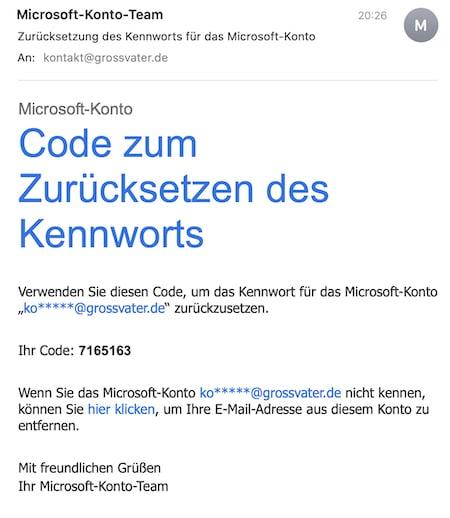 Sicherheitscode aus der E-Mail von Microsoft entnehmen