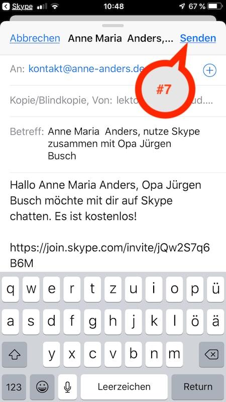 Skype-Einladung eines Kontaktes per E-Mail