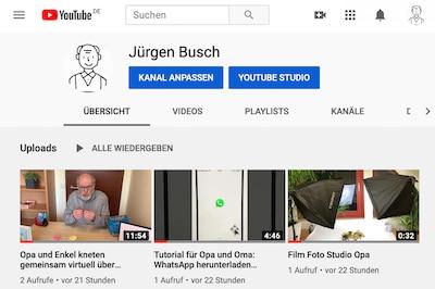 YouTube-Kanal für grossvater.de gestartet