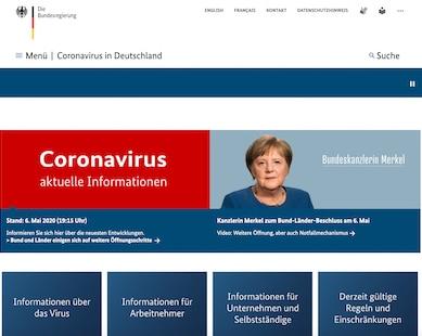 Corona-Website der Bundesregierung