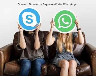 Oma und Opa verlieren nicht den Kontakt zu Kindern und Enkelkindern dank Skype und Whatsapp