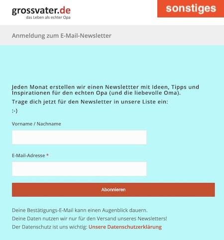 Anmeldung für den Newletter von grossvater.de