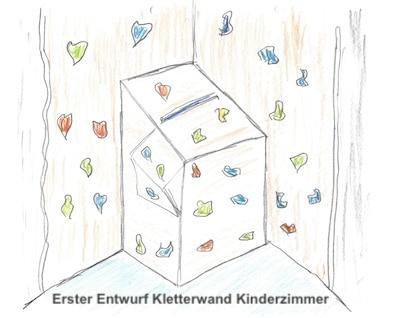 Kletterwand im Kinderzimmer - ersten Entwurf