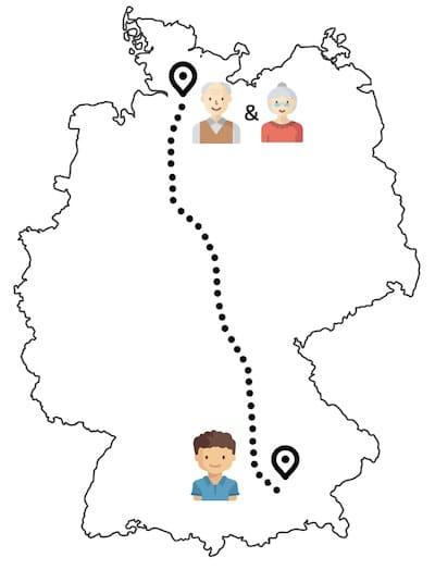 Großeltern und Enkel wohnen weit voneinander entfernt