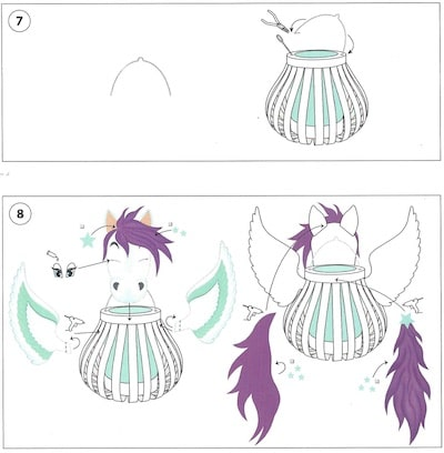Pegasus-Körper mit dem Kopf, der Mähne, dem Schwanz und den Flügeln verbinden