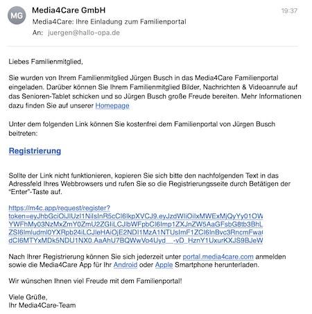 Einladung der Familienmitglieder per E-Mail
