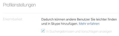 Erkennbarkeit deines Skype-Profils ändern