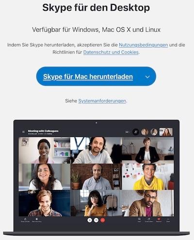Skype herunterladen auf dem Mac
