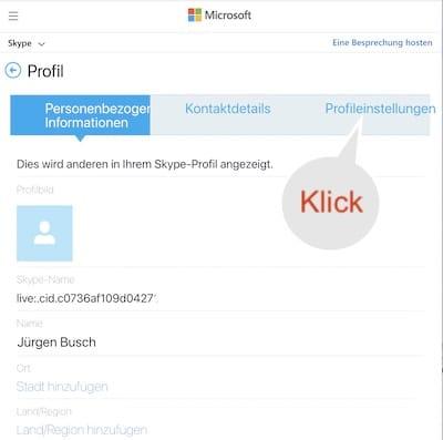 Skype-Profil aufrufen