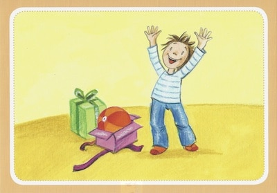 Gefühlekarte Freude bei einem Geschenk