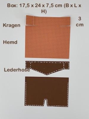 Abmessungen Lderhose, Hemd und Kragen