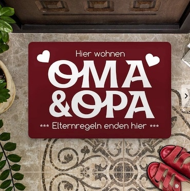 Personalisierbare Fußmatte für Opa und Oma