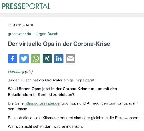 Der virtuelle Opa in der Corona-Krise