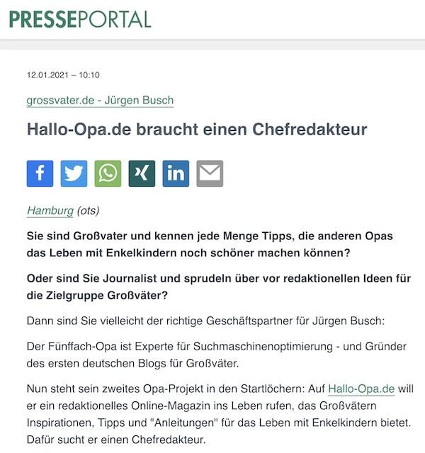 Hallo-Opa.de braucht einen Chefredakteur